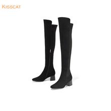 接吻猫秋冬新款羊绒面皮革粗跟长筒优雅过膝长靴女KA98709-14图片