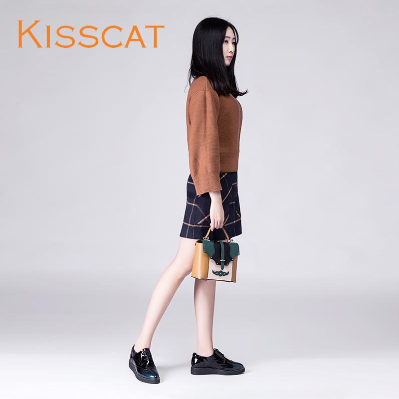 接吻猫时尚休闲厚底女鞋 牛皮深口单鞋DA76582-52