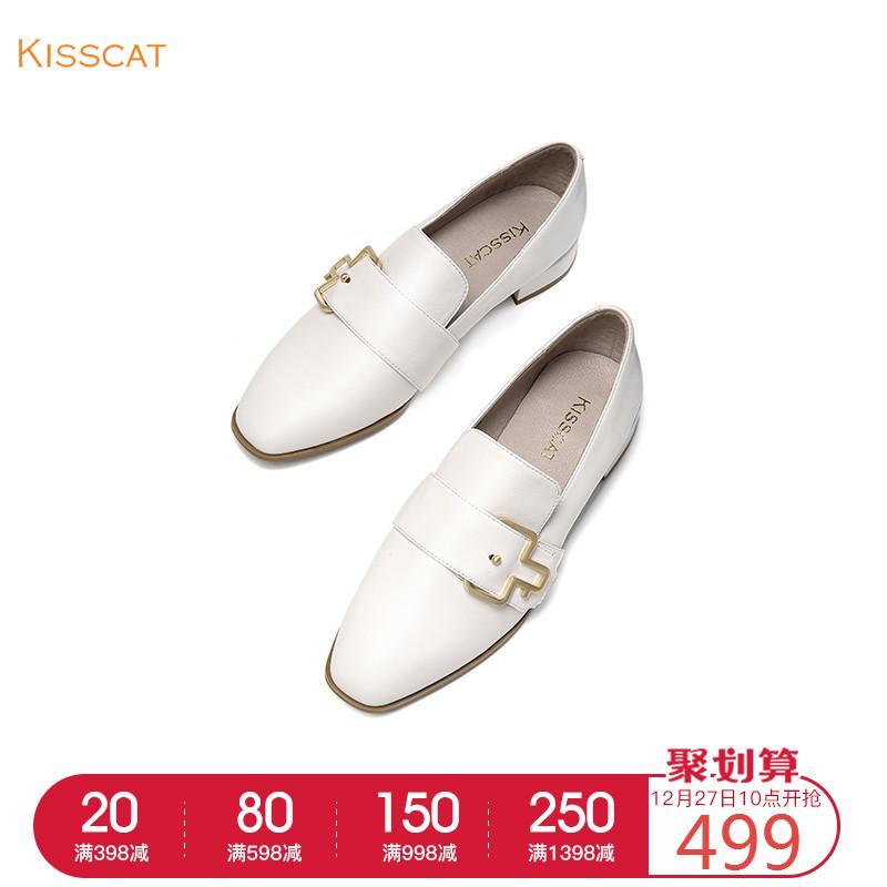 接吻猫2018秋冬季新款一脚蹬女鞋羊皮革饰扣平底单鞋KA98592-10