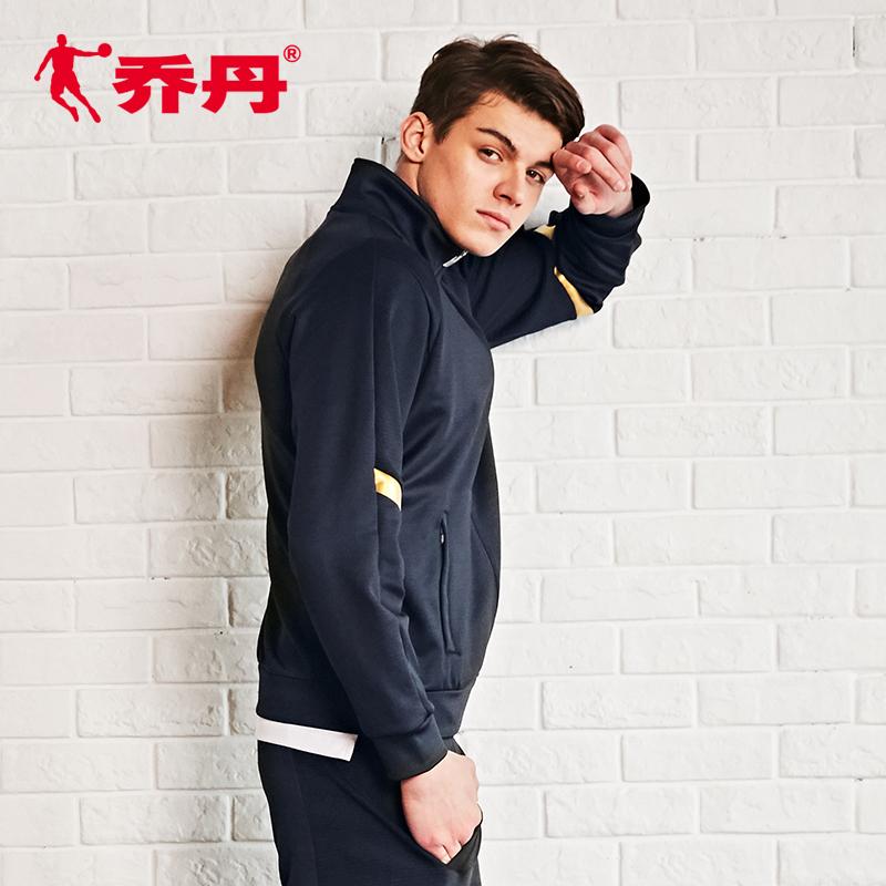 乔丹运动服男针织外套2018秋季新款翻领开衫拉链卫衣上衣