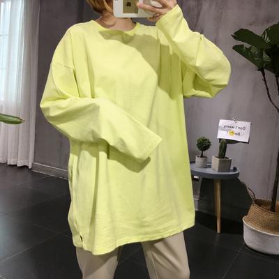 韩国东大门代购18新款宽松大码中长款纯色慵懒oversize长袖T恤女