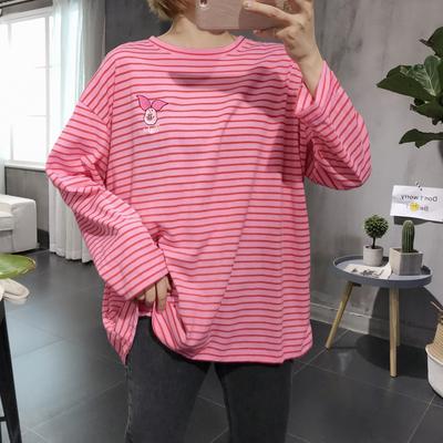 韩国东大门代购18秋新款宽松大码显瘦条纹刺绣卡通百搭长袖T恤女