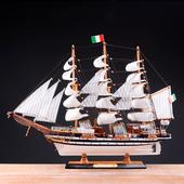 地中海帆船模型摆件仿真实木船装饰一帆风顺木质工艺船四款可选