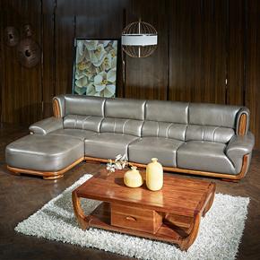 乌金木北欧真皮客厅家具简约现代新中式转角实木沙发组合贵妃位LQ