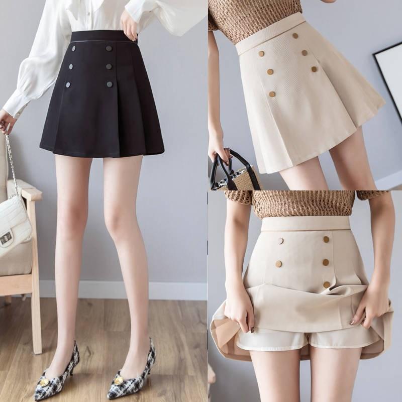不规则防走光a字裙半身裙女2019春装新款高腰双排扣包臀裙短裙子