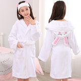 Pure cotton children's bathrobe towel material boys and girls baby with a cap swimming bath bath towel thickened pajamas spring and autumn