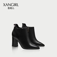 香阁儿冬季新款短靴女尖头高跟鞋女靴冬粗跟优雅黑色时尚靴子