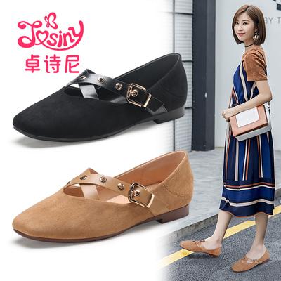 卓诗尼2018春季新款浅口低跟单鞋女 方头绒面休闲懒人鞋平跟女鞋
