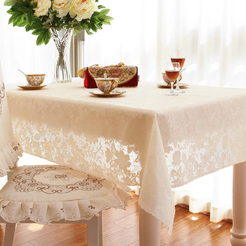 免洗日本进口环保桌布防水防油蕾丝台布圆形长方形欧式餐桌茶几布