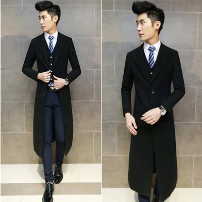 2018新款潮男冬季過膝超長款毛呢子大衣外套韓版修身青年帥氣風衣
