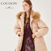 miss COCOON2018冬装新品女装貉子毛领加厚中长款羽绒服外套