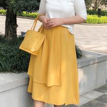 罗拉家大码女装定制胖mm荷叶边纯色公主裙叠层厚雪纺百褶半身长裙