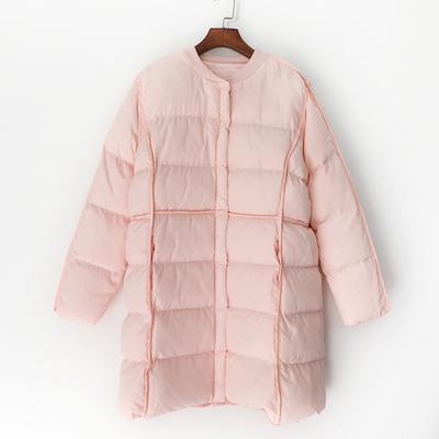 C2棉衣女中长款加厚保暖冬装2018新款韩版宽松无帽圆领棉服外套潮