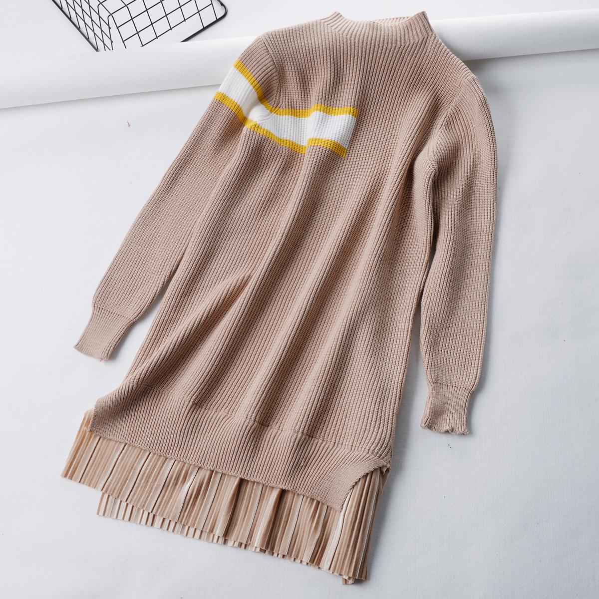 A 半高领款套毛衣裙针织衫过膝打底连衣裙