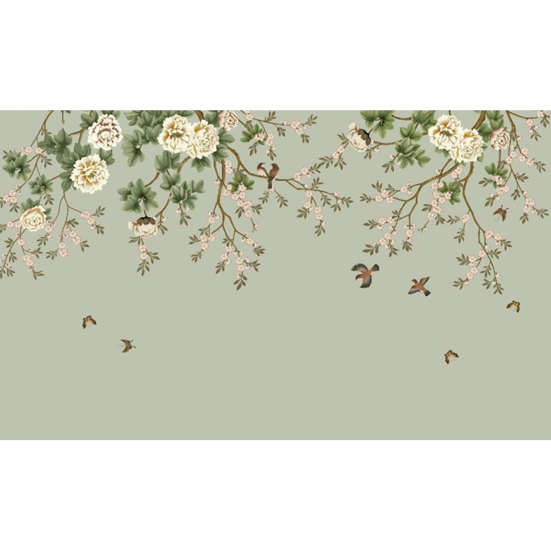 电视背景墙壁纸现代中式客厅卧室影视墙牡丹美式墙纸定制壁画墙布