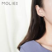 纯银耳钉女925银韩版气质时尚耳环小蝴蝶结可爱个性首饰品耳饰