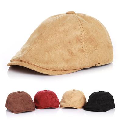 春秋冬宝宝帽子儿童鹿皮绒贝雷帽小孩遮阳帽女童鸭舌帽男童棒球帽
