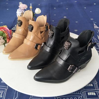 靴子女秋季新款尖头粗跟中跟短靴后拉链高跟鞋百搭欧美马丁靴单靴
