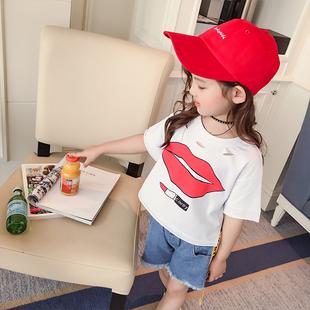 女童短袖T恤2017夏季新品儿童宝宝纯印打底衫前短后长宽松上衣