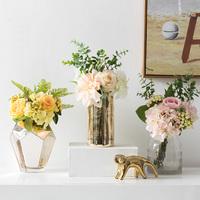 欧式餐桌花艺摆件客厅假花仿真花装饰品室内绢花整体花艺花瓶摆件