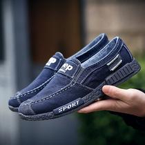 新款透气帆布鞋男黑色刺绣布鞋社会小伙鞋子潮流板鞋2018男鞋夏季