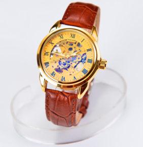 手表男机械表全自动男士手表真皮软皮表带镂空学生夜光防水手表
