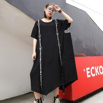 夏装2018欧美大码女装铁圈字母织带纯色中长宽松不规则连衣裙短袖