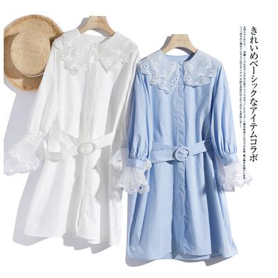 グ直砰你的少女心~绣花欧根纱拼接衬衫式棉质连衣裙附腰带TPR013