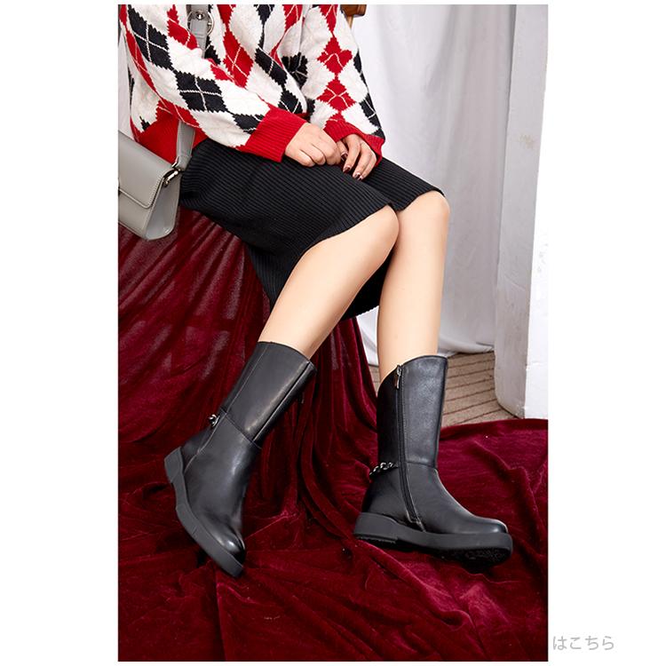 の 优选时尚有型 加绒保暖 短筒牛皮骑士靴 女 812H090