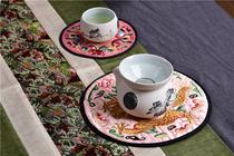 中式古典中国风餐盘布垫大号圆形绣龙绣花茶壶垫带出国送老外礼品