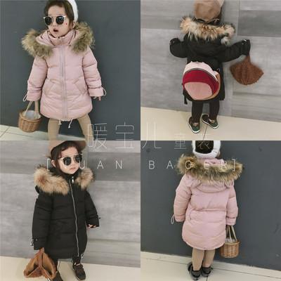 2017冬装新款韩国女童装可爱连帽毛领保暖厚实中长款棉衣棉服外套