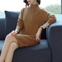 2018秋冬新款韩版半高领毛衣女套头中长款大码宽松加厚针织打底衫