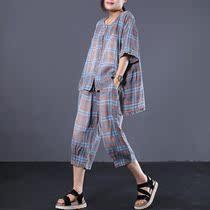 物格 夏装2019新款女韩版宽松大码文艺复古格子休闲衬衣牛仔套装