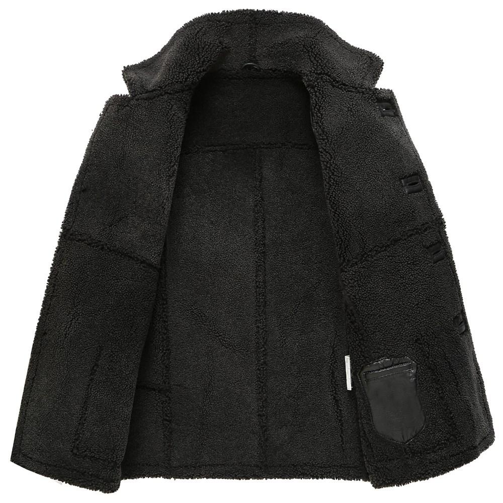 中长款翻领大衣男士加厚款澳洲原生态皮毛一体外套真皮衣冬季男装