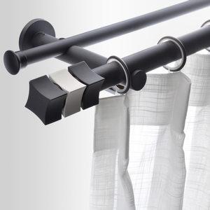 致尚魔方2018新款简约窗帘杆罗马杆单双杆定制纯色窗帘轨道支架装