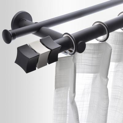 致尚魔方2018北欧简约窗帘罗马杆单双杆定制纯色窗帘轨道打孔支架