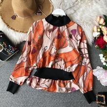 春季新款复古印花色气质宽松收腰修身显瘦上衣女衫衬百搭长袖
