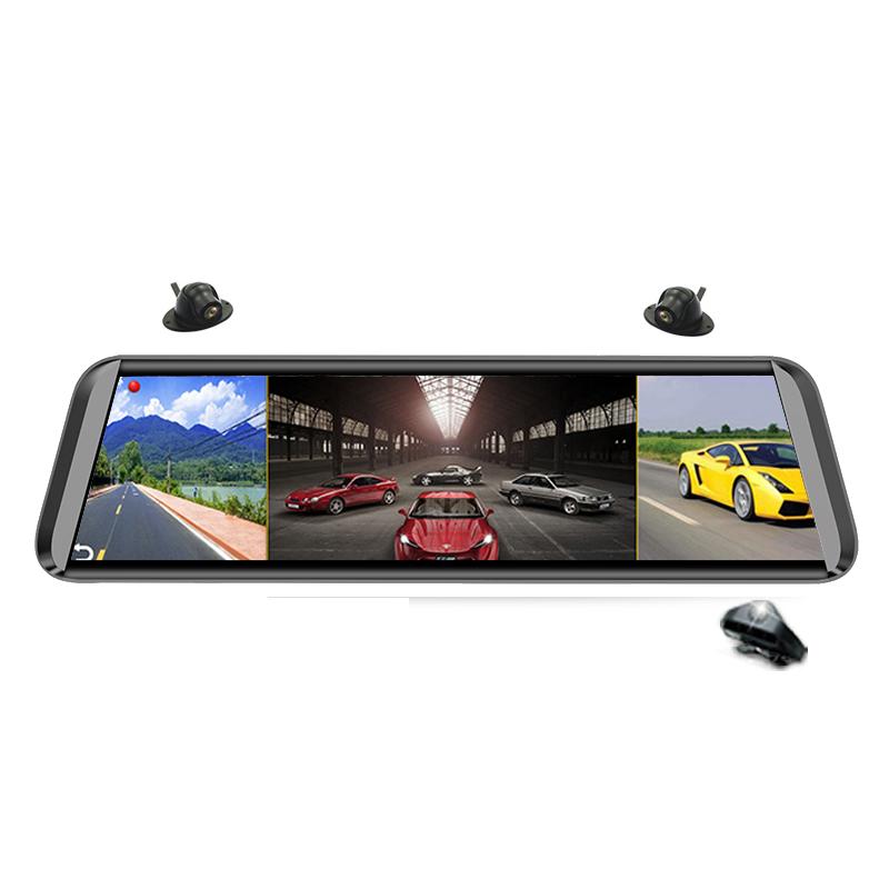 4镜头流媒体智能后视镜行车记录仪360全景高清导航倒车影像一体机