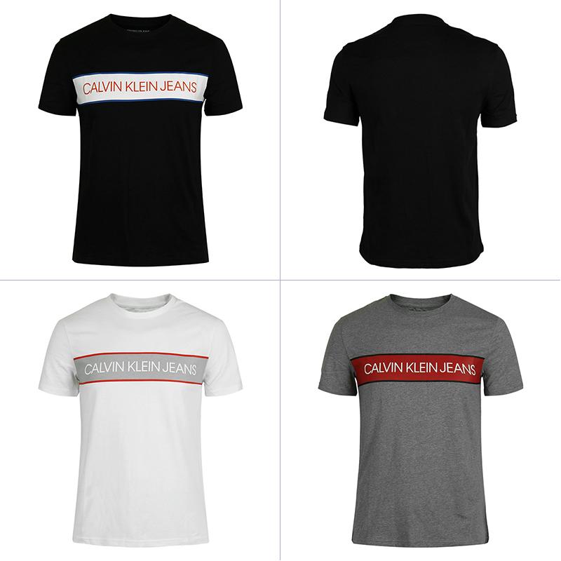 Calvin Klein/CK jeans男圆领字母短袖T恤衫纯棉休闲半袖美国直邮