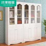 书柜新款书房韩式田园二门书柜三门书柜陈列柜书橱储物柜白色玻璃