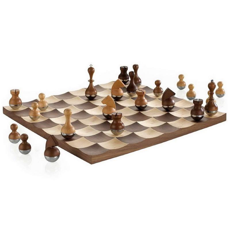 进口Umbra高档国际象棋 成人儿童欧式木制创意不倒翁棋子实木棋盘