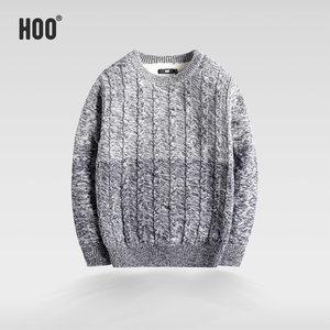 hoo男童加绒加厚针织毛衣简约时尚中大童保暖上衣冬装新品打底衫