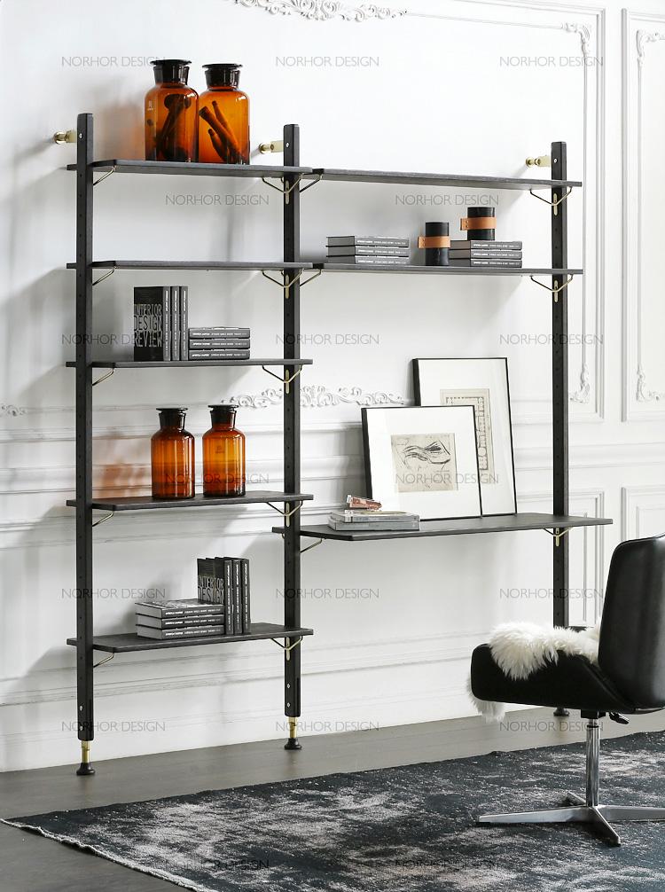北欧表情/D8进口实木家具/THEO书架/书桌组合架/黑色T