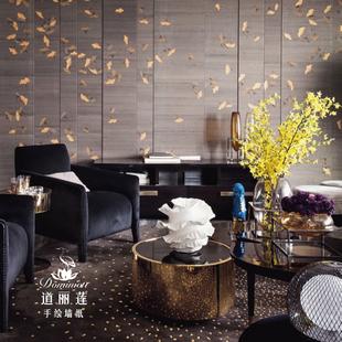手绘真丝墙布墙纸壁纸壁画 丝绸墙纸 银杏叶