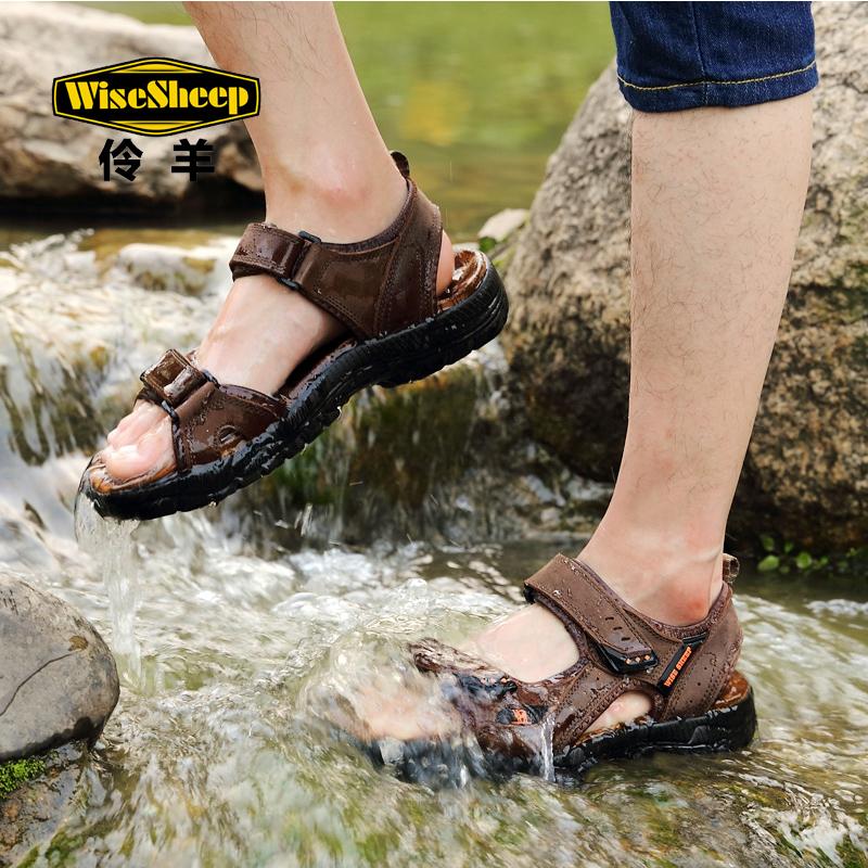 夏季真皮凉鞋男沙滩鞋2019新款男士休闲鞋户外运动潮鞋子软底防滑