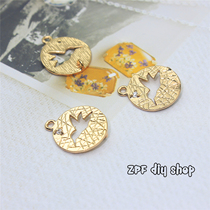 DIY Jewelry materials handmade round small pendant can be picked up other pendant earrings pendant connection Accessories