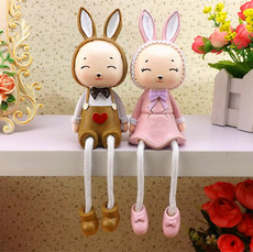 Creative couple rabbit resin ornaments cute animal bedroom living room home decoration furnishings hanging feet doll ornaments