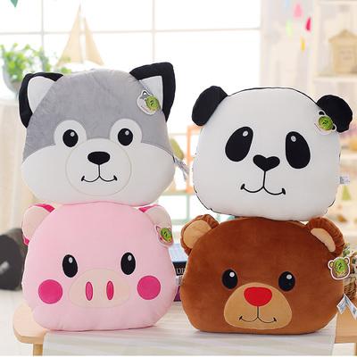卡通动物猪猪抱枕毛绒玩具哈士奇大号靠垫熊猫头坐垫小熊靠枕礼品品牌官网