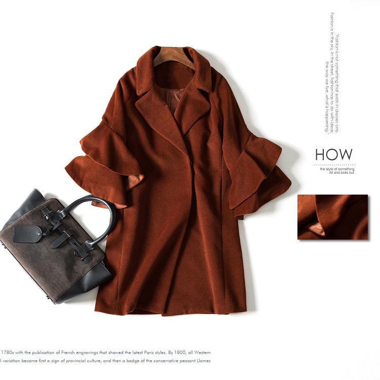 粉丝特价~ 17春 翻领喇叭袖长款毛尼大衣外套;