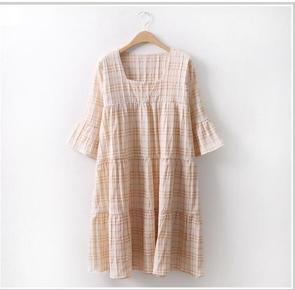 韩国大码夏装2019大码方型领口显瘦拼接格纹时尚短袖连衣裙特8